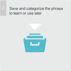 Save and categorize the phrase to learn it or use it later